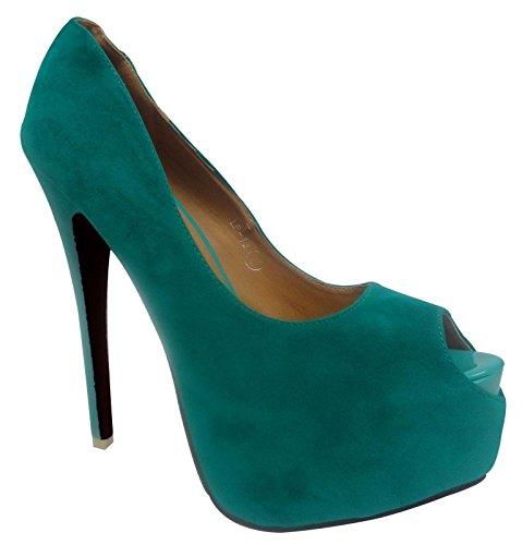 Ladies Stiletto High Heel Peep Toe Concealed Platform Court Shoes Women Pump 3-8 Green Suede