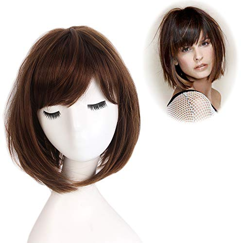 STfantasy Bob Wig Ombre Brown Short Straight Synthetic Hair for Women Cosplay Costume Party Daily Everyday Wear