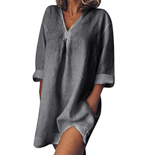 - HIRIRI Womens Loose Shirts Solid Tunic Dresses Roll-Up 3/4 Sleeve V Neck Summer Henley T Shirt Mini Dress Gray