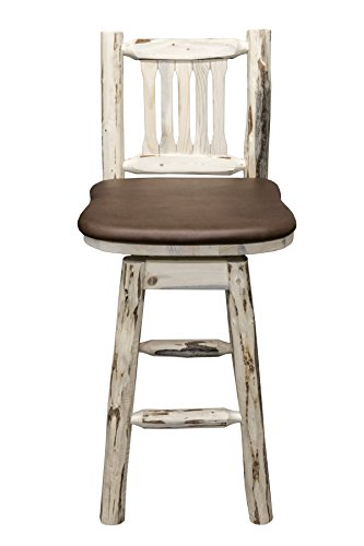 Unfinished Wood Saddle Seat Stool - Montana Woodworks MWBSWSNRSADD Montana Collection Barstool with Back & Swivel, Ready to Finish with Upholstered Seat, Saddle Pattern