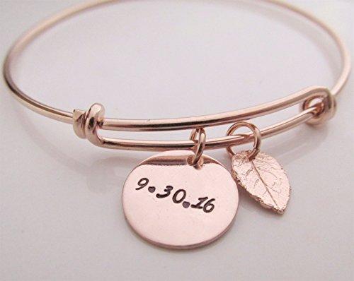 (Save the Date - Leaf Bracelet - Autumn bracelet - Personalized Jewelry - adjustable bangle bracelet- Bridesmaids Bracelet - Rose gold filled)