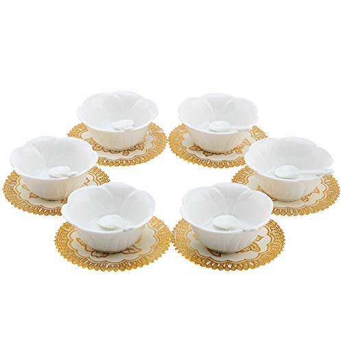 (6pcs Small Porcelain Condiment Dishes with Spoons, Ceramic Ramekins, Dipping Cups, Snack Appetizer Serving Tray, Sauce Dish Plate, Dessert Ice Cream Bowls, White Flower Shaped + 6pcs Dish)