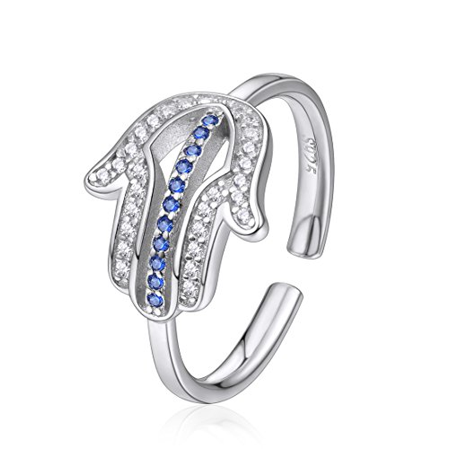 Sterling Silver Hamsa Ring - 925 Sterling Silver Hamsa Hand of God Ring Cubic Zirconia Adjustable Open Ring for Women Girls,Size 6-12