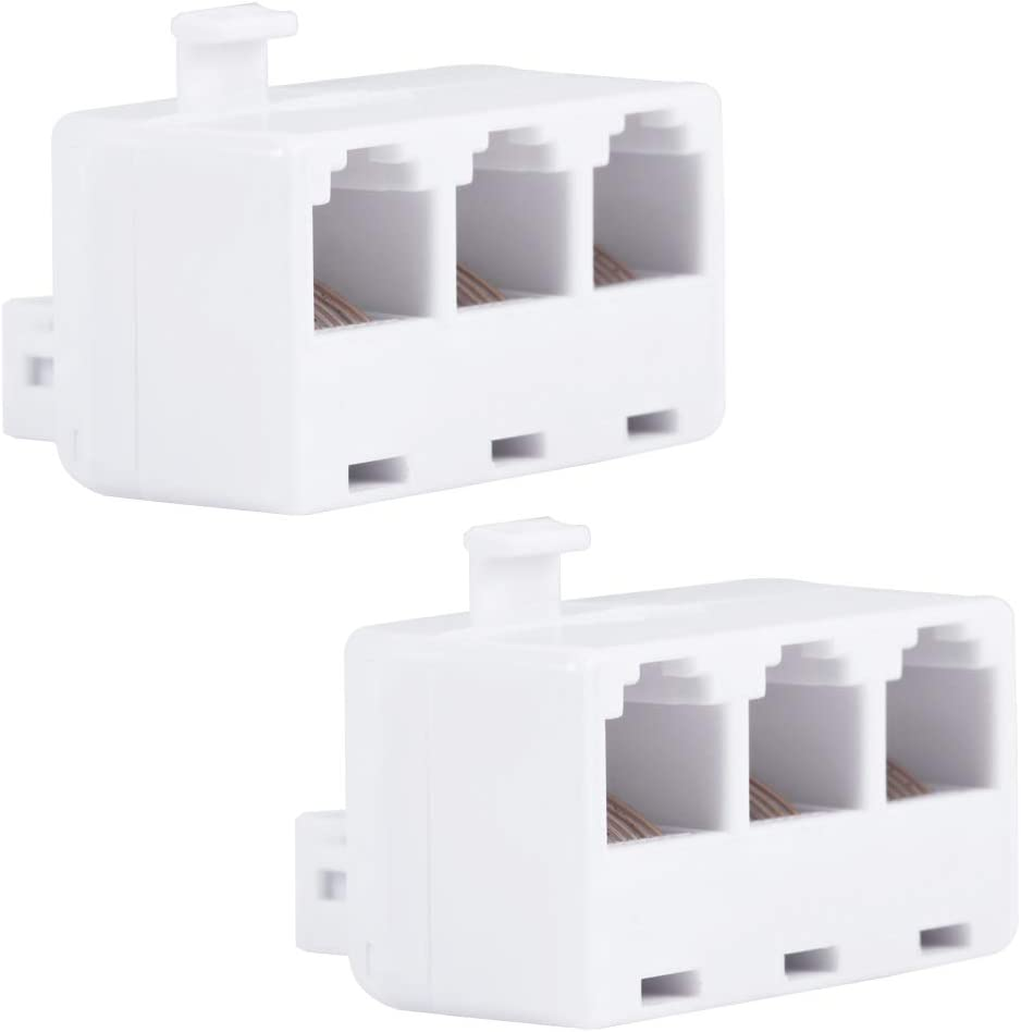 Power Gear Telephone Triplex Adapter, 2 Pack, 6-Wire Design, Home or Office, Compatible with Answering Machines, Modems, Fax Machines, All Brands, RJ25, RJ14, RJ11, White, 46059
