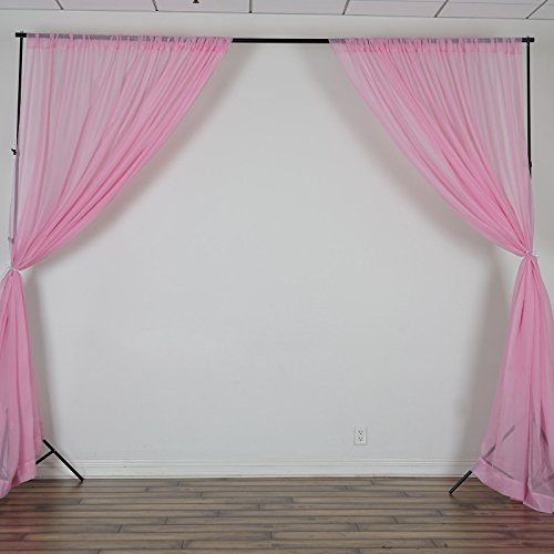 BalsaCircle 10 feet x 10 feet Pink Sheer Voile Backdrop Drapes Curtains 2 Panels 5x10 ft - Wedding Ceremony Party Home Decorations