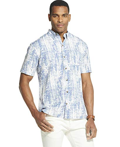 Van Heusen Men's Air Tropical Short Sleeve Button Down Poly Rayon Shirt, Pearl Blue, Medium -