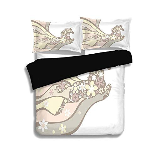 SINOVAL Black Duvet Cover Set Queen Size,Nature,Floral Horse Galloping Equestrian Unique Inspirational Freedom Graphic,Light Yellow Peach Cocoa,Decorative 3 Pcs Bedding Set