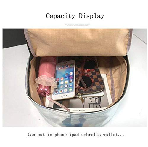 Laser Leather 4colore311 Bag School Girl Yisaesa Charger Usb Donna Holographic Silver Zaino 6gybf7Y