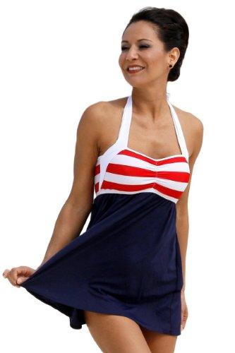 (UjENA Sailor Girl Swim Dress Tankini Navy Two Piece Swimsuit)