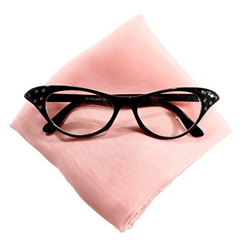 50s Retro Set - Sheer Chiffon Scarf & Rhinestone Cat Eye Glasses by Hey Viv ! (Light Pink (50's Inspired Costumes)