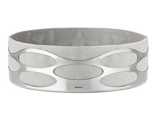 Stelton Storage (Stelton Embrace Bread Basket, Cotton Bag, Stainless Steel, Chalk, Light Grey)