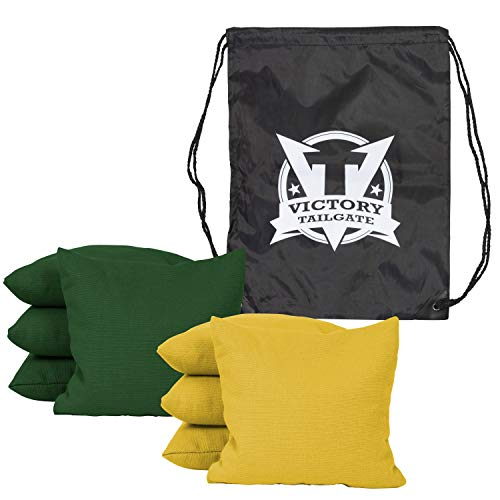Victory Tailgate 8 Colored Corn Filled Regulation Cornhole Bags with Drawstring Pack (4 Yellow, 4 Hunter Green)