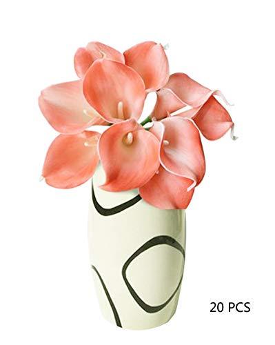 CTKcom Artificial Flower(20 Pack)- Calla Lily Bridal Wedding Bouquet Head Lataex Real Touch Flower Bouquets Wedding Party Home Garden Restaurant Decoration(Coral Pink)