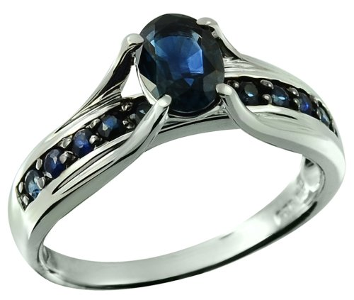 [Dark Blue Sapphire 1.39 Carats Rhodium-Plated 925 Sterling Silver Ring (6)] (Black Star Diopside Ring)