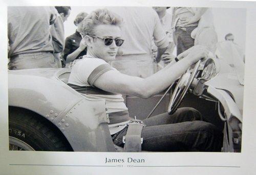 James Dean Sat In Car With Sunglasses Fine Art Print - Sunglasses Dean