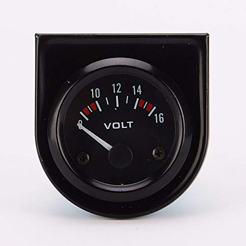 Ulable Volt Meter Universal Car 8-16V Voltmeter Volt Gauge Meter 52mm Black: