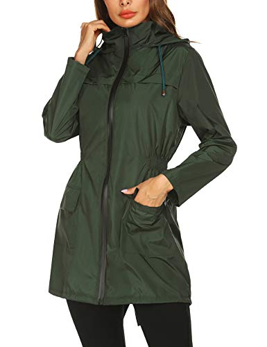 Lightweight Raincoat for Women Waterproof Packable Hooded Outdoor Hiking Long Rain Jacket Active Rainwear (XL, Dark Green)