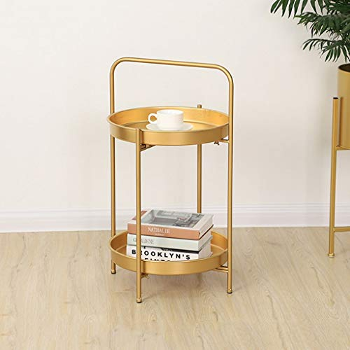 L-Life End Tables Side Table Wrought Iron 2 Tier Storage Small Round Coffee End Table, Portable Simple Living Room Balcony Reading Table Sofa Table (Color : Golden, Size : 4067cm)