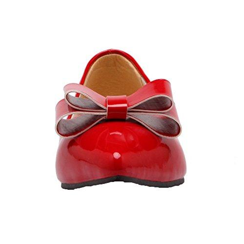 Amoonyfashion Womens Pull-on Lage Hakken Lakleder Gesloten-teen Pumps-schoenen Rood