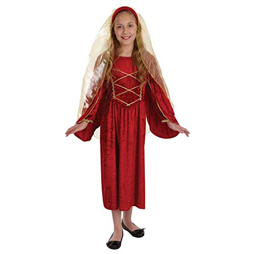 Childrens Red Tudor Princess Costume Girls Historical Queen Dress - Large]()