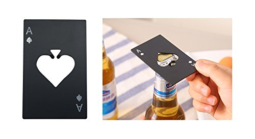 Wedding Favors for Guests Casino Poker Shaped Bottle Opener Credit Card Size Black Cap Opener Stainless Steel Beer Bottle Opener Party Favors Party Decoration Pack of 4(Black-4 PCS)]()