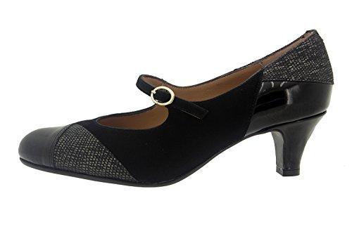 Calzado mujer confort de piel Piesanto 7227 zapato mercedes vestir cómodo ancho Negro