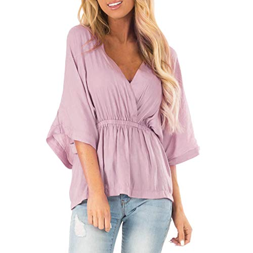 (DAYPLAY Womens Tops 3/4 Sleeve Sexy V-Neck Tee Ruffles Blouses for Party Tunic Camisole Ladies T Shirt Women's Clothes Pink)
