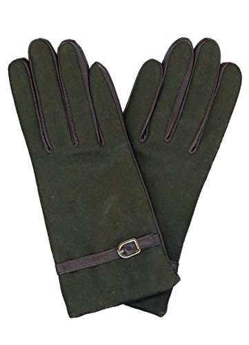 GRANDOE Womens SOLITAIRE Leather Palm Glove, Cashmere Blend Lined, Moss/Brown, Large