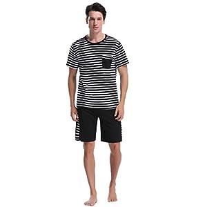 iClosam Men's Pajama Set Summer Short Sleeve Lounge Cotton Classic Striped Shorts & Shirt Sleepwear(S-XXL)