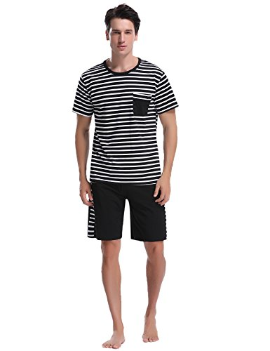 iClosam Men's Pajama Set Summer Short Sleeve Lounge Cotton Classic Striped Shorts & Shirt Sleepwear(S-XXL) ()