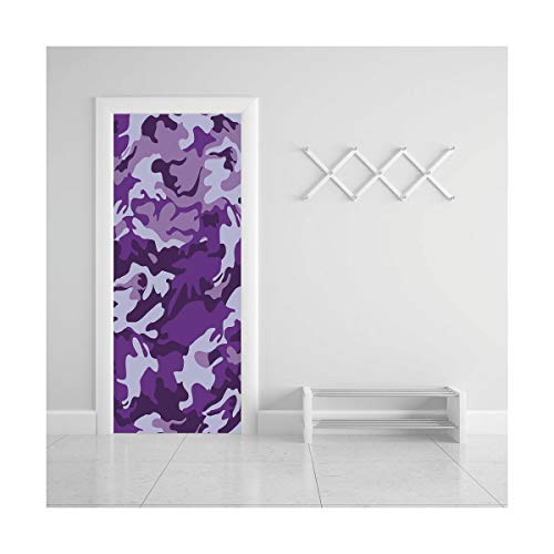 (HappyShopDecoration Door Decal Wall Murals 3D Vinyl Wallpaper Stickers for Room Decor,30.3x78.7 inches,Camouflage)
