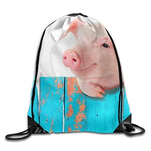 Bnialaed Funny Pig Hanging On A Fence Print Drawstring Backpack Rucksack Sport Bag Lightweight Drawstring Gym Yoga Runner Bags For Men Women ()