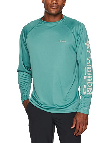 Columbia Men's Terminal Tackle Long Sleeve Shirt, Thyme Green, Cool Grey Logo, ()