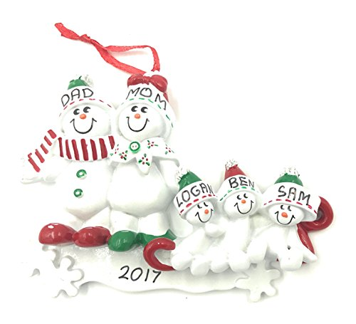 Family of 5 Snowman on Sled Personalized Christmas Ornament - Free (Personalized Snowman)