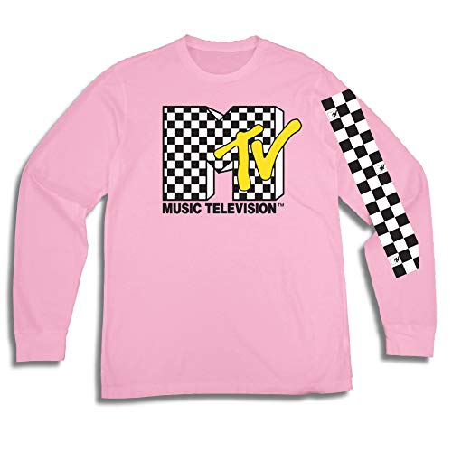 MTV Mens Long Sleeve Shirt - #TBT Mens 1980's Clothing - I Want My T-Shirt (Light Pink, Small)