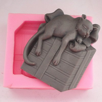 Let'S Diy Lazy Cat 3D Silicone Non-Stick Handmade Soap Candle Moulds
