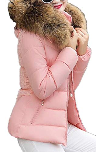 TTYLLMAO Womens Hoodie Puffer Faux Fur Jackets Down Slim Pink Coat with CdBrwdq