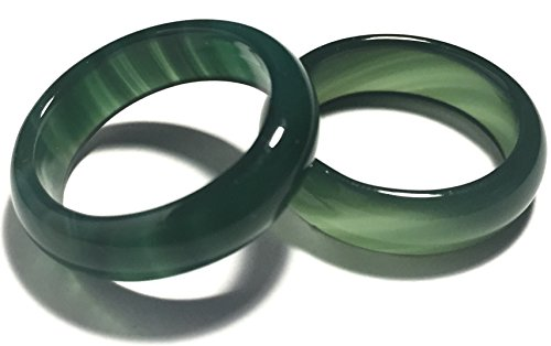Whitestone Jewelry Co. Matcha Green Tea Dark Green Agate Ring (Size 7)