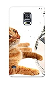 Hot Lbnxev-2172-obimxch Cats Animals Fish Goldfish Fish Bowls Tpu Case Cover Series Compatible With Galaxy S5
