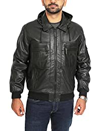 "<span class=""a-offscreen"">[Sponsored]</span>Mens Detachable Hoodie Real Soft Leather Bomber Zip Jacket Bronx Black"