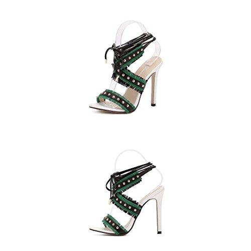 SHEO sandalias de tacón alto La lucha de tacón alto de las mujeres con la plataforma impermeable de las sandalias Verde