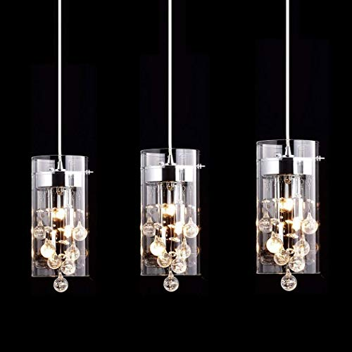 CLAXY Ecopower Lighting Glass & Crystal Pendant Lighting Modern Chandelier for Kitchen-3 Lights