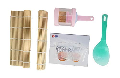 (Kimbap Making Premier Kit Collection of Most Popular Tools Actually Used in Korea, Consist of 2x Bamboo Rolling Mats, 1x Sesame Oil Brush Bottle, 1x Non Sticky Rice Paddle, 20x Disposable Poly Gloves)