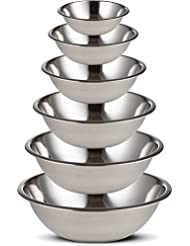 Stainless Steel Mixing Bowls Set of 6 for Cooking, Baking, Meal Prep, Serving, Nesting, Salads 3/4 – 1.5 – 3 – 4 – 5 – 8 Quarts