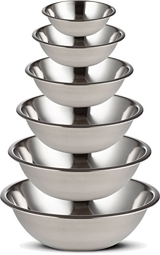 Professional Stainless Steel Mixing Bowls SET of 6 for Cooking, Baking, Food Preparation. Polished Mirror Finish in Most