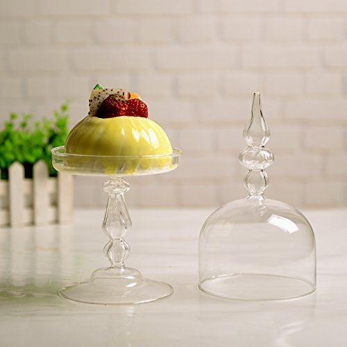 Siyaglass Glass Cupcake Stand with Dome Home Decor Party Product