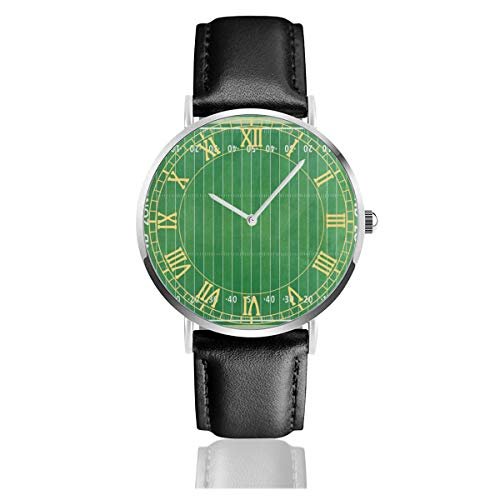 Green American Football Field Striped Women's Easy Reader Leather Strap 38mm Mens Watch with Silvery Stainless Steel Watchcase, Leather Band, Crystal Dial 1.5inch