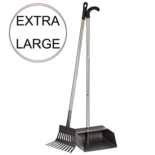 Yangbaga Upgraded Dog Pooper Scooper for Large Dogs, Stainless Steel Pet Poop Tray with Rake, 39.2 in Long Handle Detached into 3 Pieces, Heavy Duty Dog Pooper Scooper