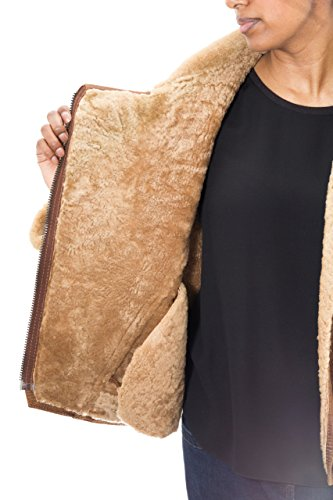 Gingembre Bombardire Classique De Femme Pour Avec Au Style Averse Veste Peau Brun Mouton En Cuir Chameau wYTqZt
