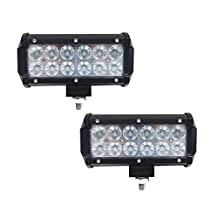 Simplive® 2PCS 7 Inch 36W 3600LM CREE Flood Led Work Light Bar For Off-road SUV Boat 4x4 Jeep Lamp with Mounting Bracket